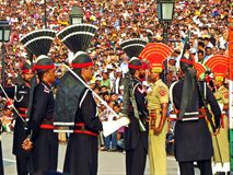 pakistani an indian soldiers at border closing ceremony between Pakistan and India, Wagha border royalty free stock photos