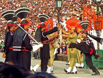 pakistani an indian soldiers at border closing ceremony between Pakistan and India, Wagha border stock images