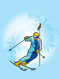 Lowering skier Royalty Free Stock Images