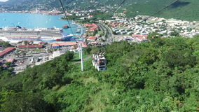 Lowering via cable car and view of the Saint Thomas, Saint Thomas, U.S. Virgin Islands. 1st of December, 2016 stock video