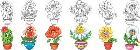 Flowers set. House plants in pots stock images
