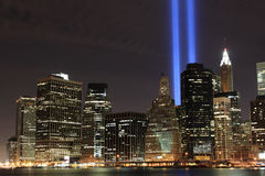 Lowers Manhattan Skyline and the Towers Of Lights. At Night Royalty Free Stock Photo