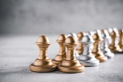 The lowest chess piece in game rank pawn. Tactics and Leadership concept royalty free stock photos