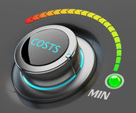 Lowest level of costs concept. Web interface switch button pointing to the green indicator with item min and color dial scale on black background Royalty Free Stock Photography