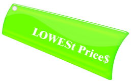 Lowest price. Green Lowest Price unique label royalty free illustration