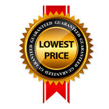 Lowest Price Guarantee Gold Label Sign Template. Vector Illustration Stock Photography