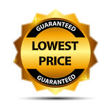 Lowest Price Guarantee Gold Label Sign Template. Vector Illustration Royalty Free Stock Photos