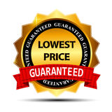 Lowest Price Guarantee Gold Label Sign Template Royalty Free Stock Photo