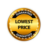 Lowest Price Guarantee Gold Label Sign Template. Vector Illustration Royalty Free Stock Photo