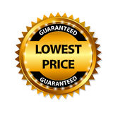 Lowest Price Guarantee Gold Label Sign Template. Vector Illustration Stock Photos