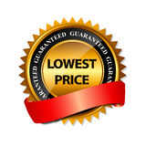 Lowest Price Guarantee Gold Label Sign Template. Vector Illustration Royalty Free Stock Photography