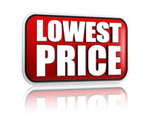Lowest price in red banner Stock Photo