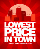 Lowest price in town sale design. Lowest price in town, sale design with shopping bags royalty free illustration