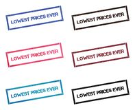 Lowest prices ever rectangular stamp collection. Textured seals with text isolated on white backgound. Stamps in turquoise, red, blue, black and sepia colors royalty free illustration