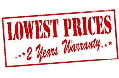 Lowest prices. Rubber stamp with text lowest prices inside, illustration stock illustration