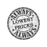 Always lowest prices stamp. Black grunge rubber stamp with the text always lowest prices written inside the stamp vector illustration