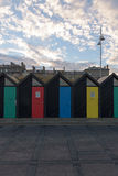 Lowestoft south beach huts. With beautiful sky royalty free stock photos