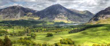 Loweswater in Cumbria. Crummock Water viewed from Loweswater in Cumbria Royalty Free Stock Image