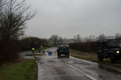 Lowick Road off A6116 flooded Stock Images