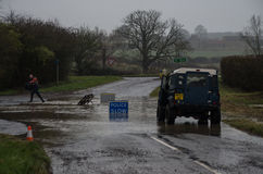 Lowick Road off A6116 flooded Stock Image