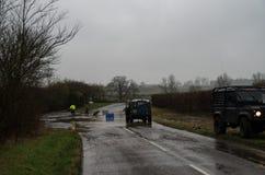 Lowick-Straße weg von A6116 überschwemmt stockbilder