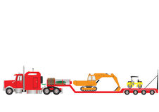 Lowloader. Vector Image of a Red Lowload Semitrailer and  Truck with a sleeper cab loaded with an Excavator and Road Roller Stock Photo
