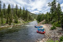 Free Lowman Idaho - July 1, 2019: Rafting Tours Put In Rafts Down The Ramp At Boundary Creek Area Of Idaho, A Popular Spot For Starting Royalty Free Stock Photos - 156576658
