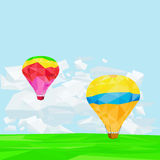 Lowpoly Air Balloons on Bright Sky Stock Image