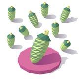 Lowpoly cone de abeto isométrico Fotos de Stock Royalty Free