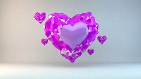 LOWPOLY 3D HEART Royalty Free Stock Photography
