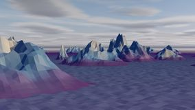 Lowpoly Landscape with Arctic Rocks. A lowpoly 3d rendering of a white and grey landscape with snowy and icy mountains and rocks in the north-polar territory Royalty Free Stock Photos