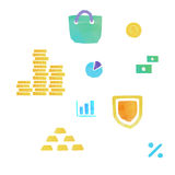 Lowpoly finance and money icons. Set of flat design concept icons for finance, banking, online payment, online commerce Stock Photo