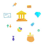 Lowpoly finance and money icons. Set of flat design concept icons for finance, banking, online payment, online commerce Royalty Free Stock Photography