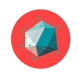 Lowpoly geometric shape. Vector illustration. 3d low poly Abstract polygonal geometric shape on red . Vector illustration Royalty Free Stock Photo