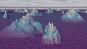 Lowpoly Landscape with Gloomy Arctic Rocks. A surrealistic 3d rendering of a white, blue and violet landscape with snowy and icy rocks and mountains in the North Stock Photos