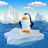 Lowpoly penguin on ice. Very high resolution computerr generated Lowpoly penguin on ice stock illustration