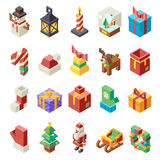 Lowpoly Polygonal Christmas Isometric 3d Icons Set Flat Cartoon Design Vector Illustration Royalty Free Stock Images