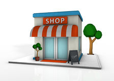 Lowpoly shop icon. 3D rendering royalty free illustration