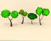 LowPoly träd Fotografering för Bildbyråer