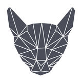Lowpolygonal几何,灰色猫头 简单 图库摄影