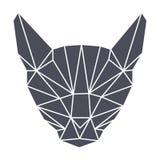 Lowpolygonal-Geometrie, grauer Katzenkopf einfach Stockfotografie