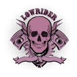 Lowrider skull emblem. Vector illustration. Stock Photos