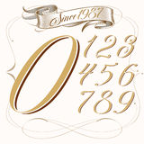 Lowrider Tattoo Numbering. Tattoo set of numbers and vintage baner Royalty Free Stock Images