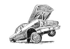 Lowrider. On white in sketch style Royalty Free Stock Image