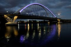 Lowry Avenue Bridge with Purple Lighting in Minneapolis Stock Image