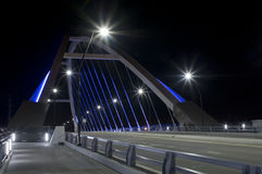 Lowry Avenue Bridge at Roadside. Lowry Avenue bridge and roadside at night in Minneapolis Minnesota Royalty Free Stock Images