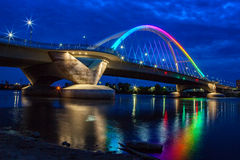 Lowry Bridge in Pride Colors. The Lowry Avenue Bridge in Minneapolis lit up for Pride Weekend Stock Photo