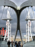 Lowry footbridge, Salford Quays, Machester Zdjęcia Royalty Free
