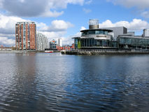 Lowry panorama, Salford kajer, Manchester Royaltyfria Foton