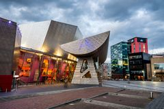Lowry Manchester UK. The Lowry is a theatre and gallery complex situated on Pier 8 at Salford Quays, in Salford, Greater Manchester, England royalty free stock photo